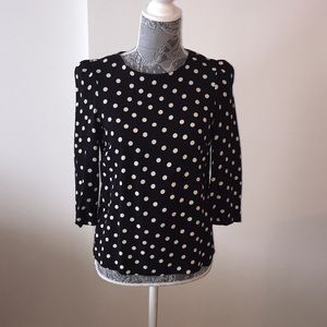 Zara Black and Cream Polka Dot Blouse Size Small